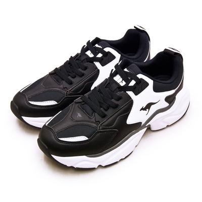 KangaROOS 美國袋鼠鞋 經典復古籃球鞋 SWING老爹鞋系列 黑白 01079