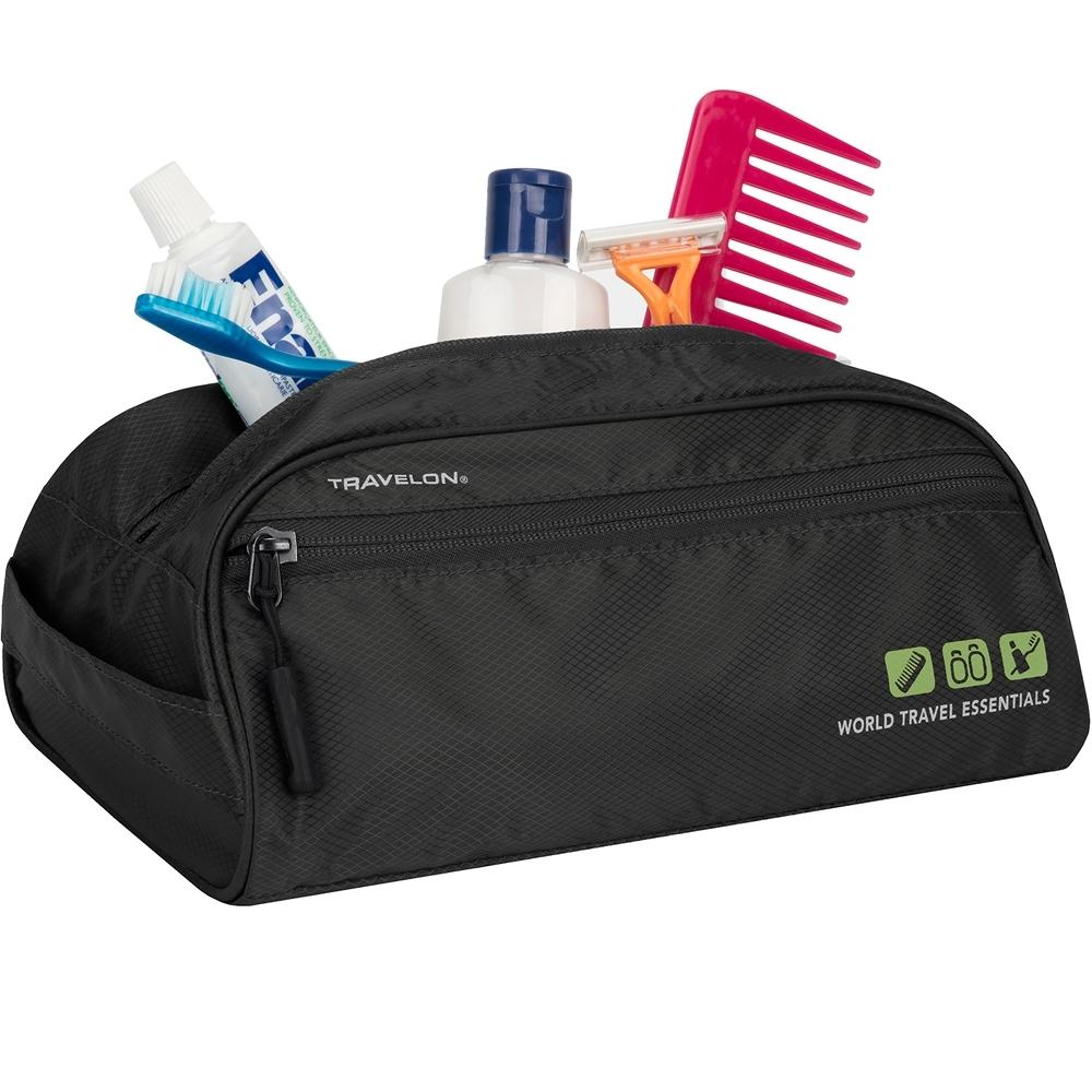 《TRAVELON》防潑水盥洗化妝包(黑網)