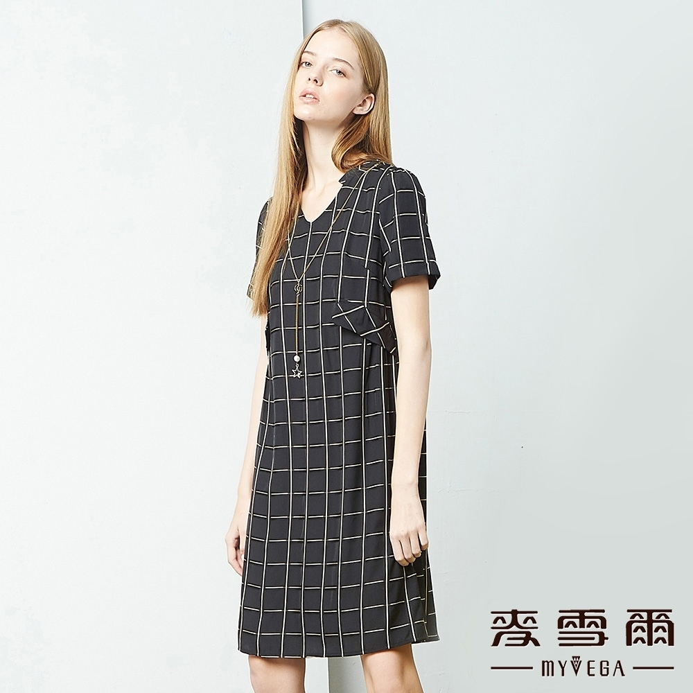 MYVEGA麥雪爾 格紋氣質雪紡長洋裝-黑