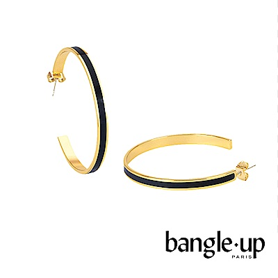 BANGLE UP 復古經典琺瑯鍍金開口耳環 -黑