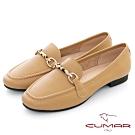 【CUMAR】極簡生活 - 動物紋飾扣休閒平底樂福鞋-杏