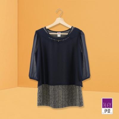 ILEY伊蕾 活片配色假兩件條紋雪紡上衣(藍)