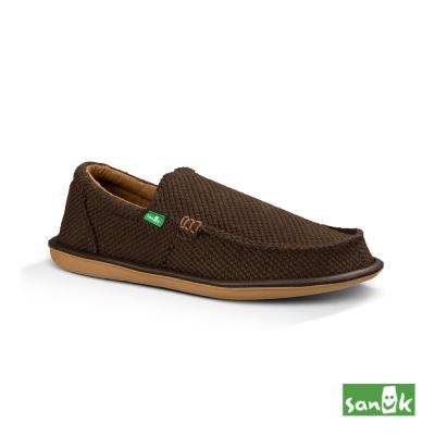 SANUK 帆布編織懶人鞋-男款(深咖啡色)