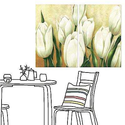 橙品油畫布 二聯 時尚無框畫掛畫-白色花卉 40x60cm
