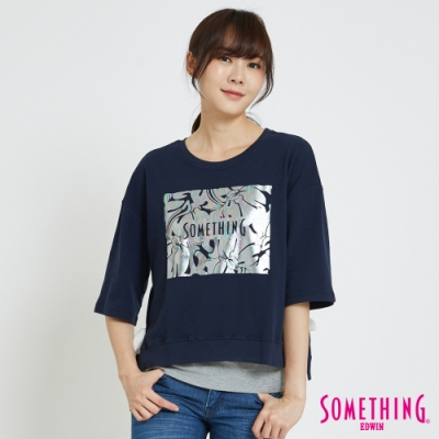 SOMETHING 綁結錫印造型短袖T恤-女-丈青