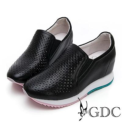 GDC-基本簡約質感氣質真皮沖孔洞洞素面內增高休閒鞋-黑色