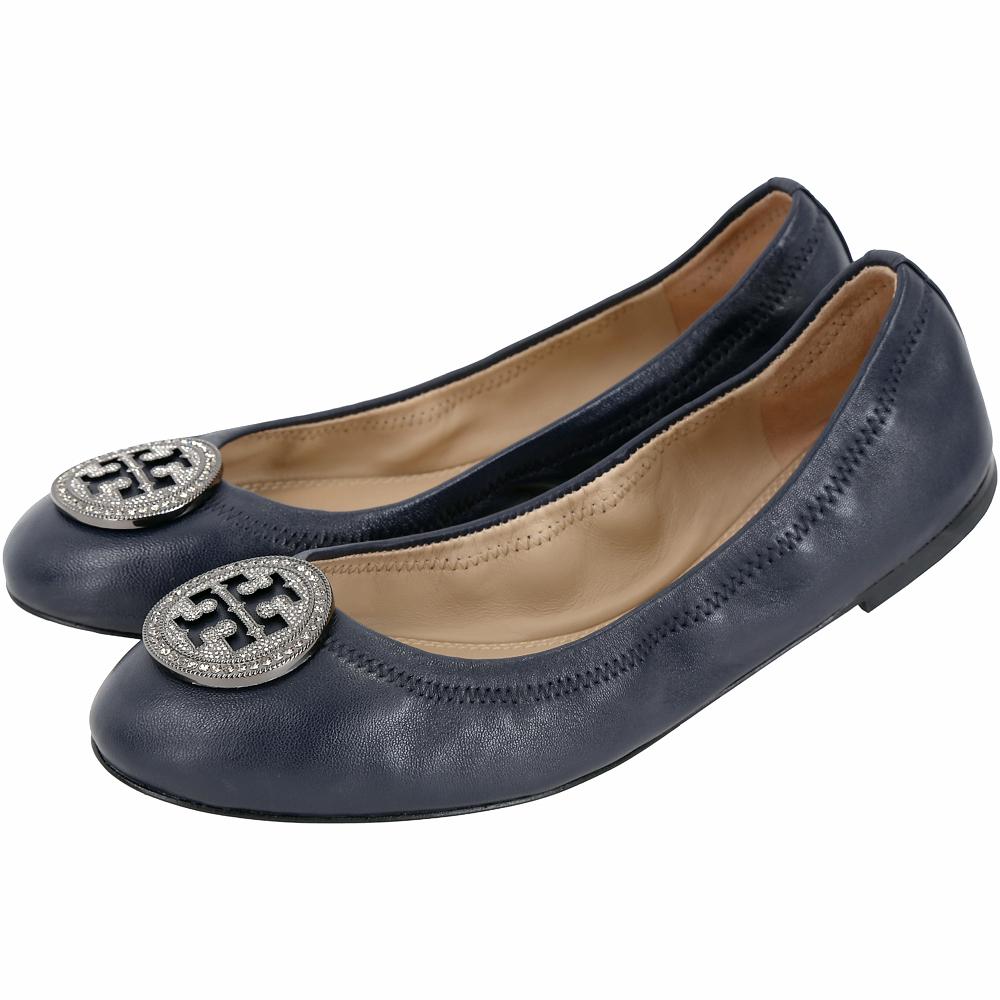 TORY BURCH Liana 鑽飾盾牌納帕皮革娃娃鞋(深藍色)