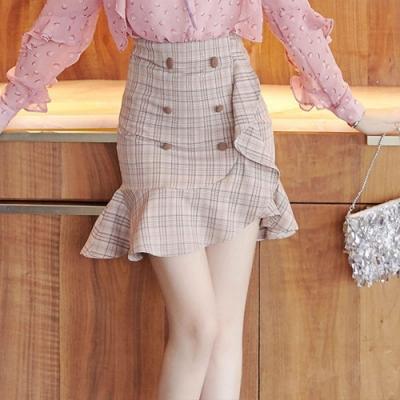 設計所在Lady-荷葉邊短裙韓版格子裙(S-XL可選)