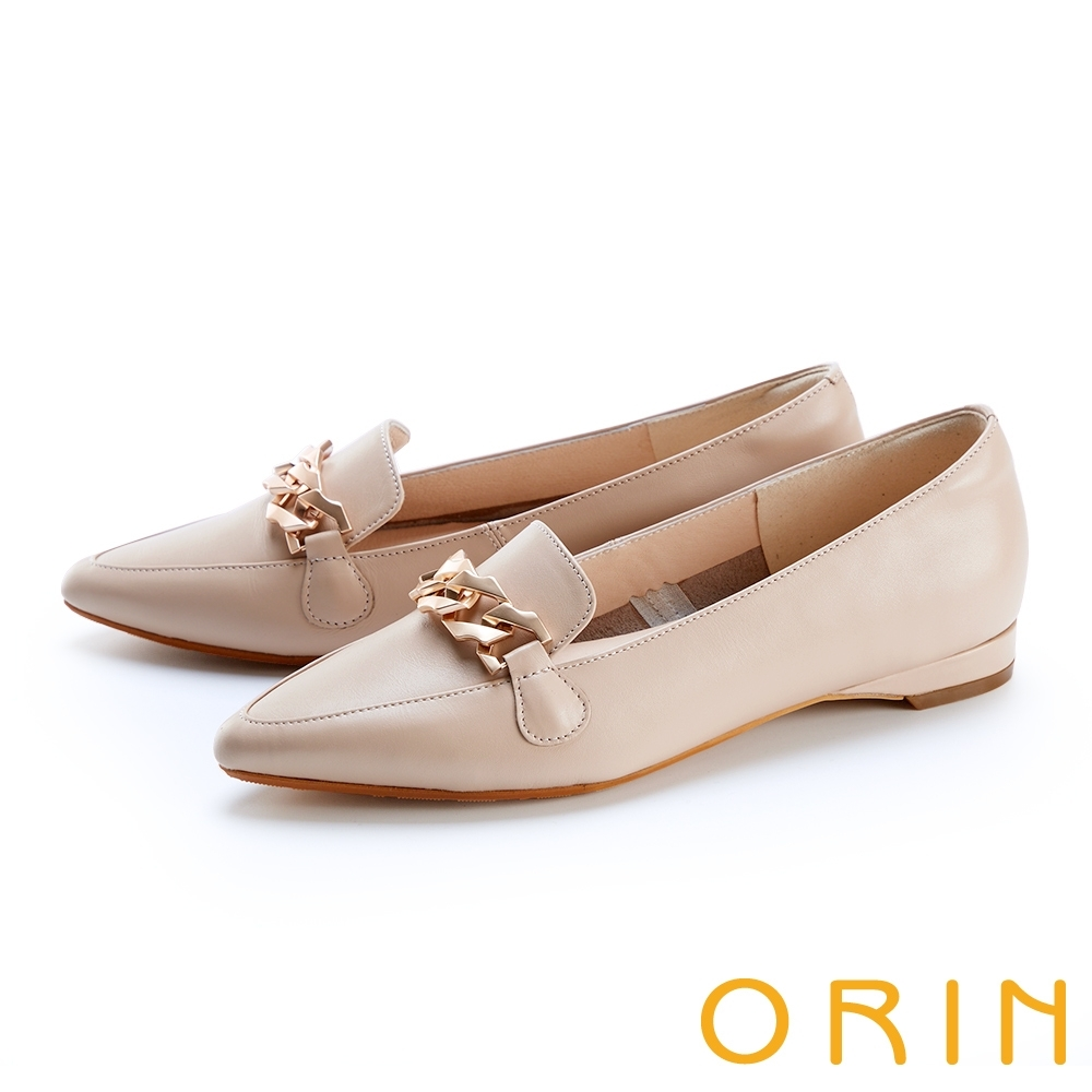 ORIN 氣質金屬鍊真皮平底 女 樂福鞋 裸色
