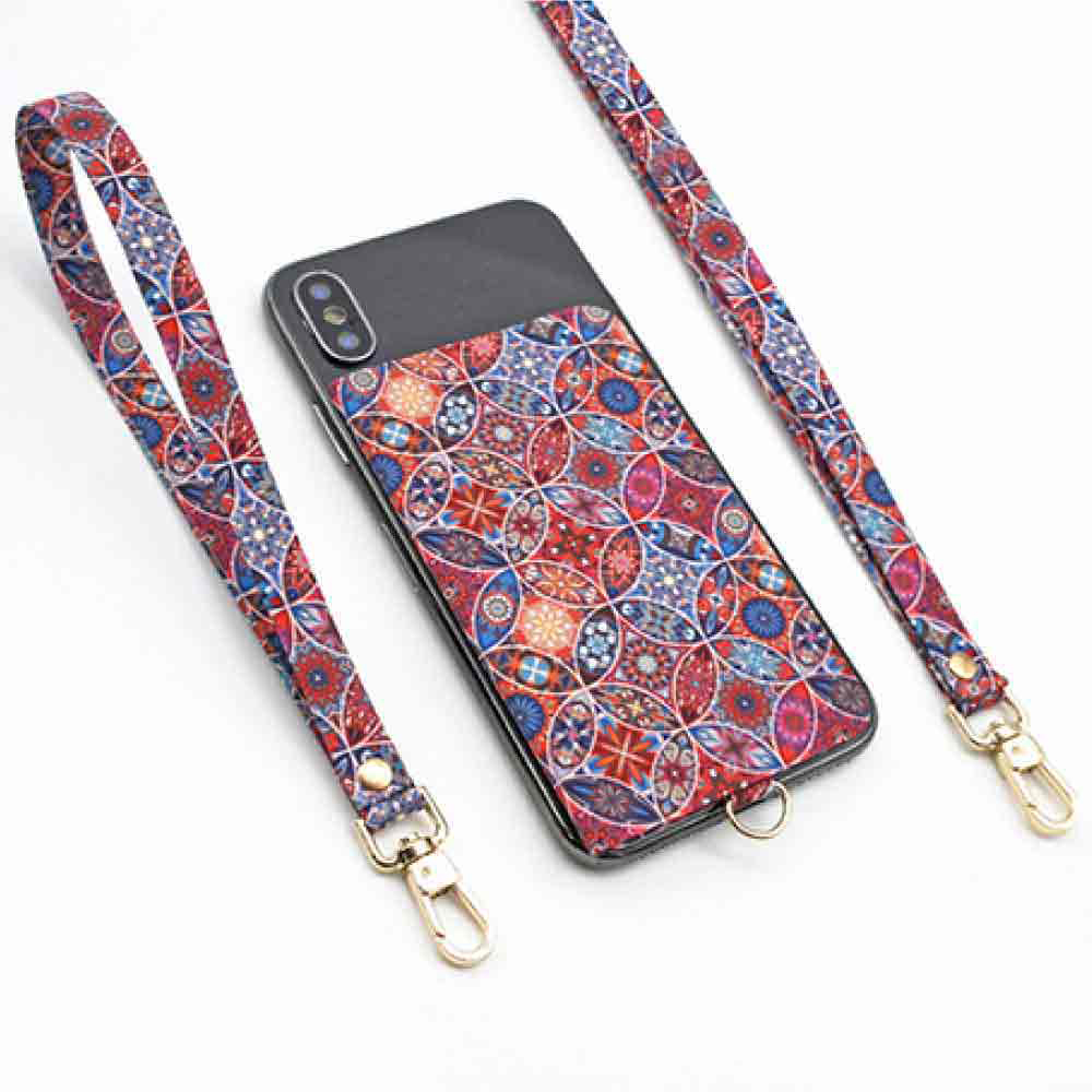 【ekax】手機背貼卡片夾/長頸繩/短手腕繩(復古花紋)