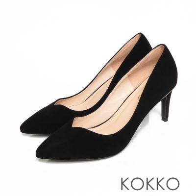 KOKKO優雅尖頭羊麂皮桃心口細高跟鞋霧面黑