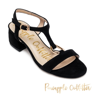 Pineapple Outfitter-SATRIA 氣質款金扣T字帶粗跟涼鞋-絨黑色