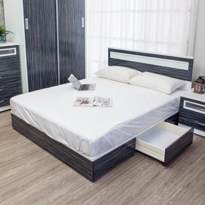 Birdie南亞塑鋼-3.5尺單人二抽屜塑鋼床組(床頭片+抽屜床底)(鐵刀木色)