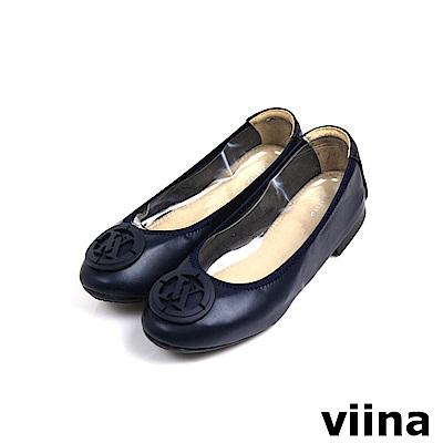 viina超纖烤漆釦摺疊鞋 - 深藍
