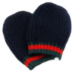 GUCCI  綠紅綠愛斯基摩嬰兒毛線手套(深藍)