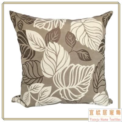 【宜欣居傢飾】葉之舞-沙發絨布抱枕(咖/米)50*50cm/枕套含枕芯2入/台灣製MIT