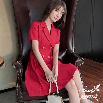 Mandy國際時尚 法式時尚氣質西裝連衣裙  【韓國服飾】