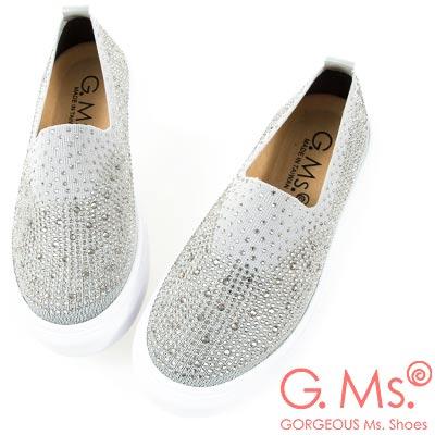 G.Ms. MIT系列-極輕量貼鑽針織布懶人休閒鞋-淺灰