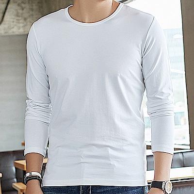 G+居家 男款輕磨毛暖暖發熱衣-圓領-白色