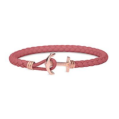 PAUL HEWITT德國出品 莓粉色皮革單圈編織 玫瑰金船錨 手環手鍊