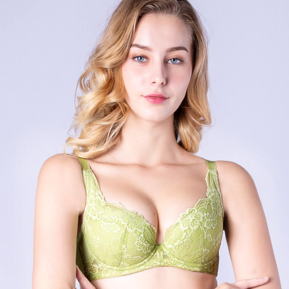 思薇爾 春舞花蝶系列B-F罩蕾絲包覆內衣(嫩芽綠)