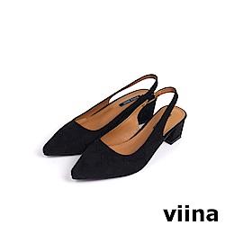 viina Basic尖頭絨布素面後空跟鞋 - 黑