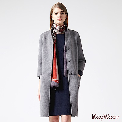 KeyWear奇威名品    簡約立領雙色毛呢手工大衣-灰色