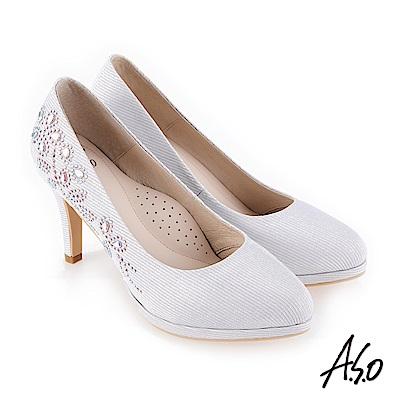 A.S.O 流金歲月 奢華水鑽金蔥布高跟鞋 銀