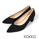 KOKKO - 愛的呢喃粗跟尖頭高跟鞋-優雅黑