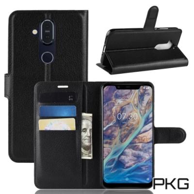 PKG Nokia 8.<b>1</b>側翻式-精選皮套-經典款式-黑