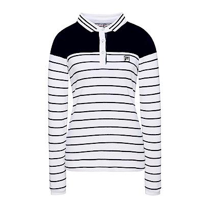 FILA 女款條紋POLO衫-白 5POS-5709-WT
