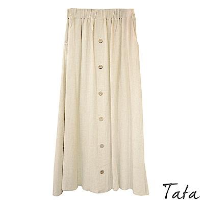 棉麻鬆緊腰排扣裙 共二色 TATA