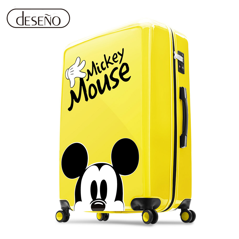 Disney 米奇奇幻之旅 28吋PC鏡面拉鍊箱-檸檬黃