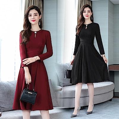 純色蝴蝶結束腰挖空水滴洋裝連身裙M-2XL(共二色)-REKO