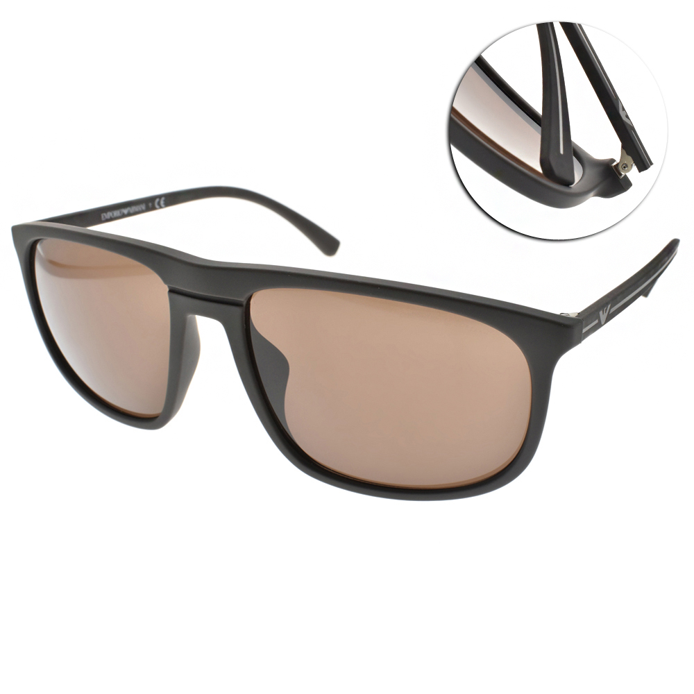 EMPORIO ARMANI太陽眼鏡 個性方框/咖啡#EA4118F 569373