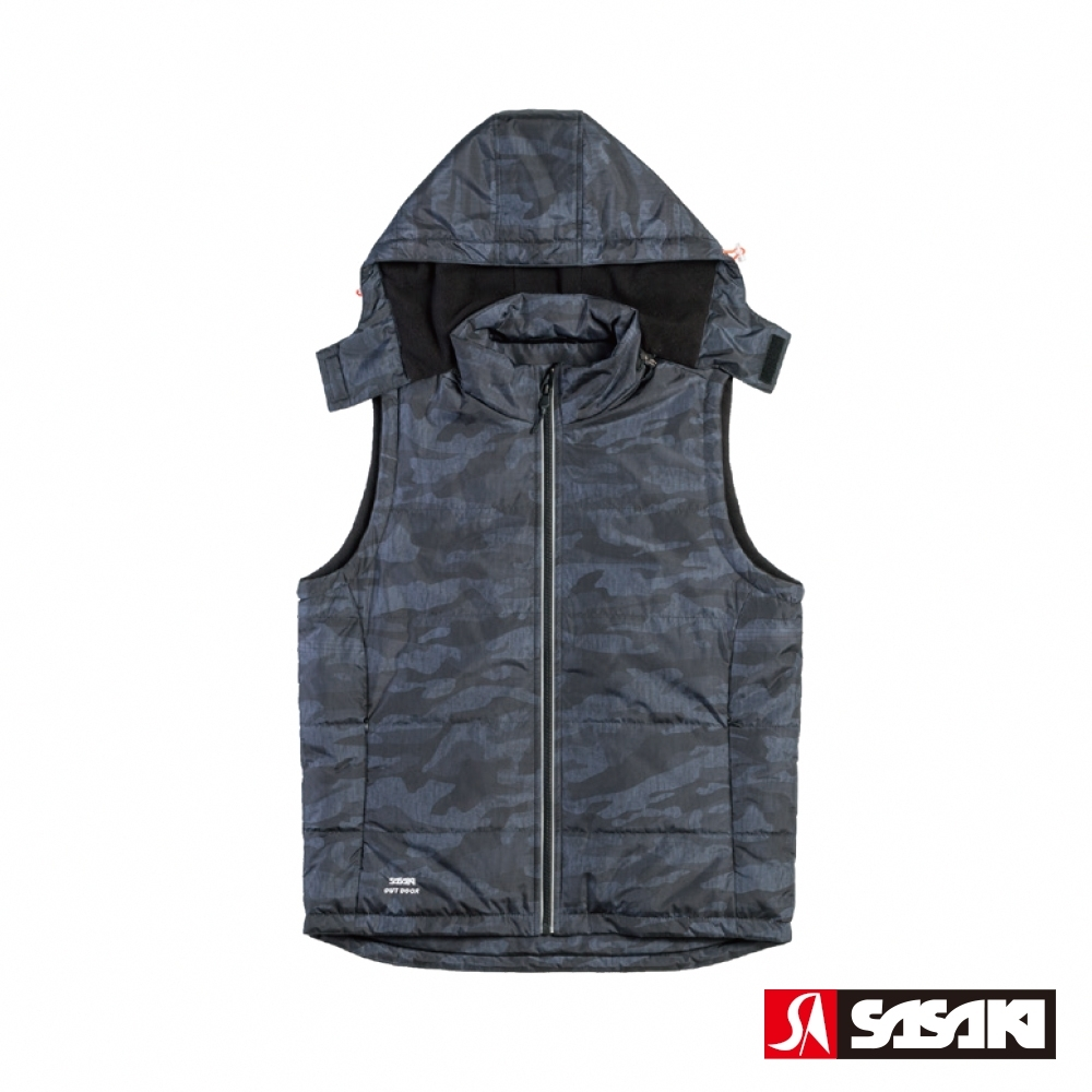 SASAKI 夜間反光多功能保暖運動背心-男-黑/太空灰