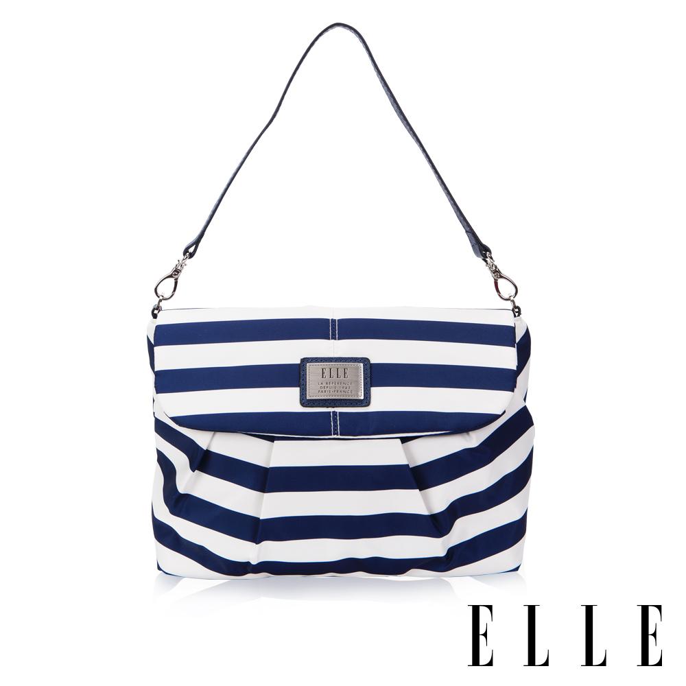 ELLE 法式淑媛海軍風肩背/側背包- 藍白色