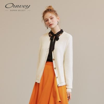 OUWEY歐薇 俏麗小香風典雅針織外套(米)