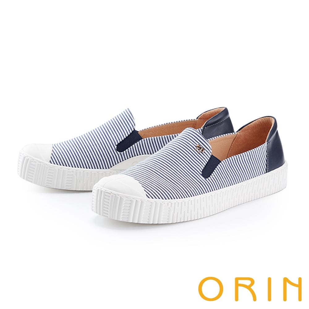 ORIN 個性條紋拼接厚底 女 休閒鞋 藍色
