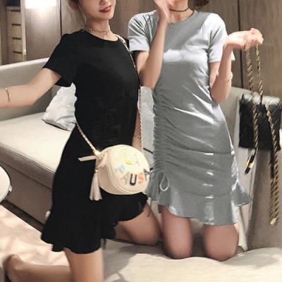 Lockers 木櫃  荷葉長版抽繩短袖T恤/連衣裙-2色