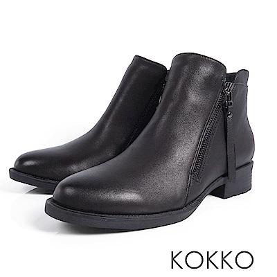 KOKKO-懷舊擦色柔軟綿羊皮短靴-經典黑