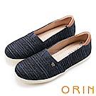 ORIN 潮流同步 表面特殊條紋布休閒便鞋-深藍