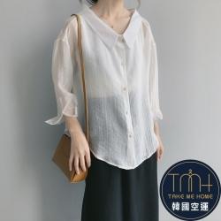 韓國空運 透肌大領口襯衫-2色-TMH