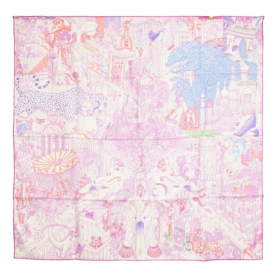 Hermes Animapolis scarf 真絲方巾(粉紫)