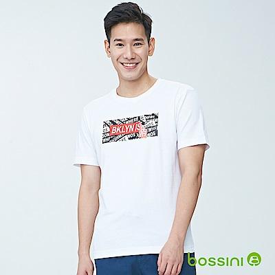 bossini男裝-印花短袖T恤05白