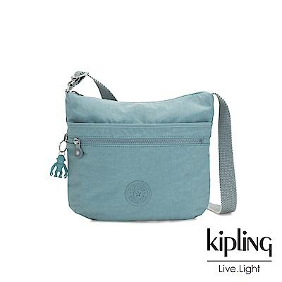 Kipling 冰霜綠前拉鍊側背包-ARTO