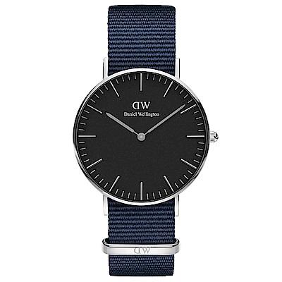 DW手錶 官方旗艦店 36mm銀框 Classic 星空藍尼龍帆布