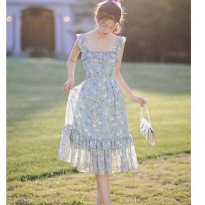 清新淺藍碎花荷葉方領無袖雪紡洋裝S-L-維拉森林
