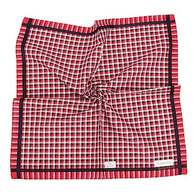 Calvin Klein 格紋紳士純綿帕巾-紅色