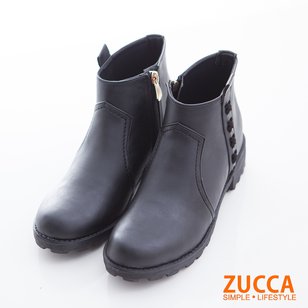 ZUCCA-細緻皮質側帶設計低跟靴-黑-z6723bk